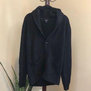 J.Crew men's black cotton button cardigan L